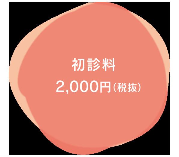 初診料 2,000円(税抜)