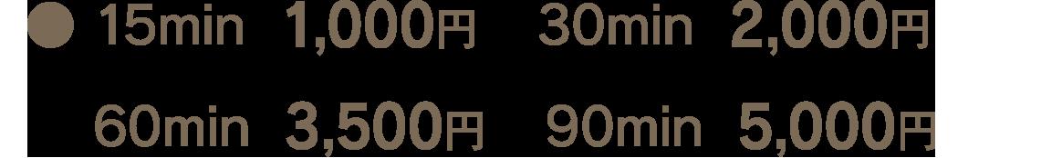 ●15min 1,000円  30min 2,000円   60min 3,500円  90min 5,000円